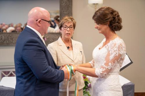 Celebrant Fiona Griffin performing a wedding ceremony