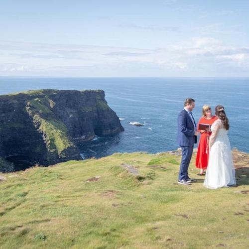 Celebrant Niamh Callery at the Cliffs of MoherPhoto Credit Gary Collins Photography
